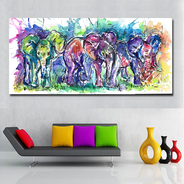 Waterproof Animal Three Big Elephants Vivid Color Abstract Wall Art Prints Printing Poster For Living Home,Kids Room Wall Decor