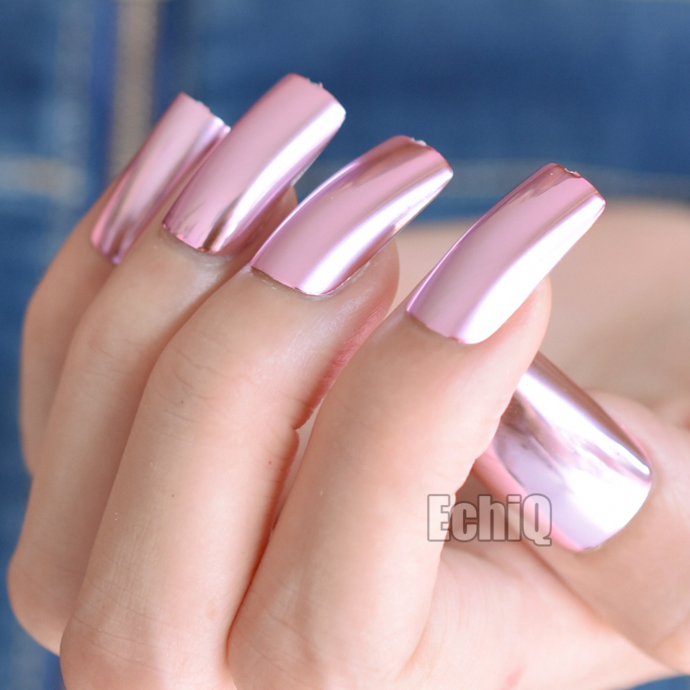 Metallic Nail Art Tips Vierkante Top Extra Lange Acryl Nagels Roze