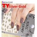 Oro plata Pegatinas de Uñas Harajuku Estrella Cromada TY067-078 Cadena Cruz Scouts Flor Diseño Para Decoraciones Del Clavo 3D