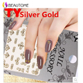 Silver Gold Nail Stickers Harajuku Chrome Star Chain Cross Scout Flower Design For 3D Nail Decorations TY067-078