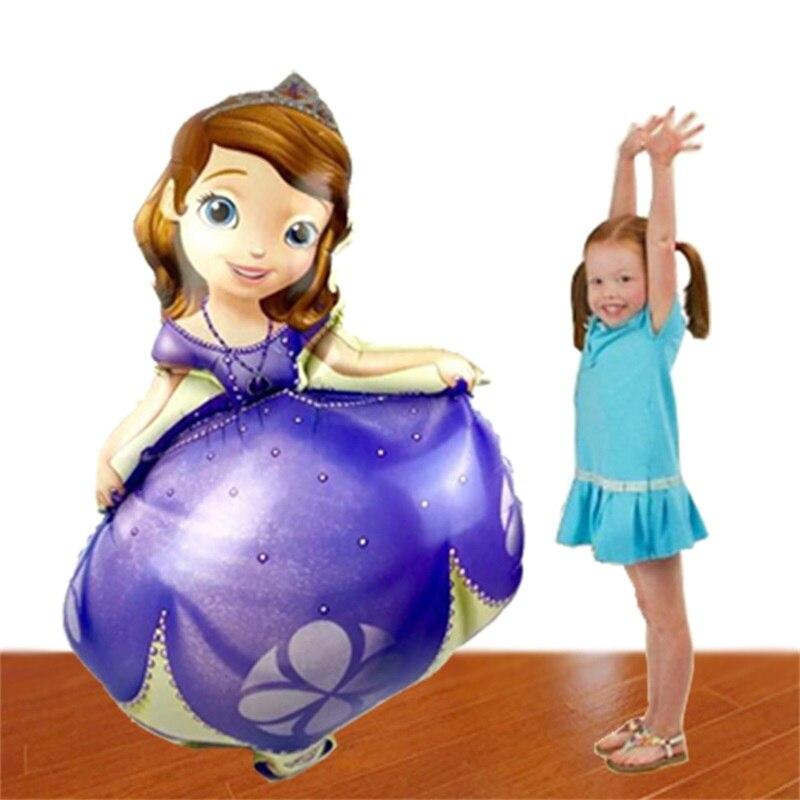 50 pcs 93*65 cm Sofia princesse feuille ballons joyeux anniversaire hélium ballon princesa sofia festa decoracao enfants jouets gonflables-in Ballons et accessoires from Maison & Animalerie    1
