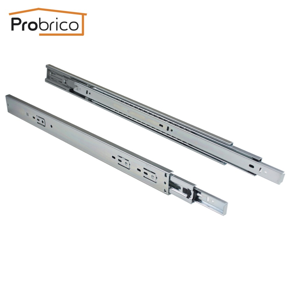 Probrico 15 Pair 22 Soft Close Ball Bearing Rail Kitchen Furniture Drawer Slide DSHH32-22A USA Domestic Delivery black hydraulic buffered rail track three drawer slide drawer slide ball bearing slide rail damping