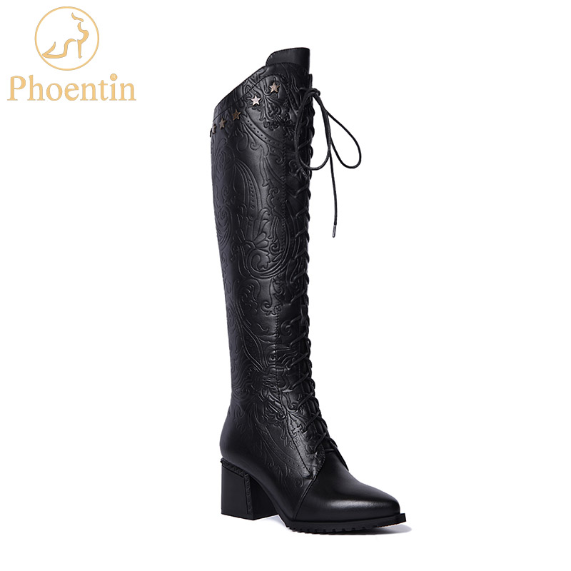 Phoentin black lace up high knee boots fretwork 2019 zipper genuine leather boots women five stars