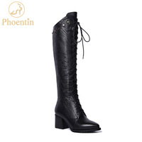 Phoentin black lace up high knee boots fretwork 2019 zipper genuine leather boots women five stars metal decoration shoes FT475