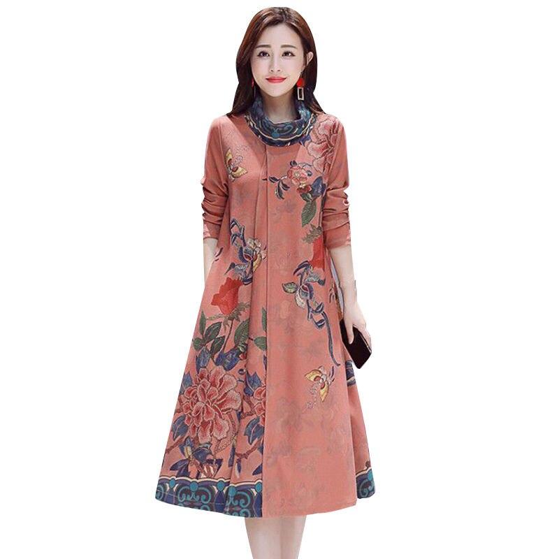 ชุดฤดูหนาวฤดูใบไม้ร่วงผู้หญิง Vestidos Vintage ดอกไม้พิมพ์หนังนิ่มยาว Dresses Elegant Plus ขนาดแขนยาวสุภาพสตรีชุด Q892-ใน ชุดเดรส จาก เสื้อผ้าสตรี บน AliExpress - 11.11_สิบเอ็ด สิบเอ็ดวันคนโสด 1