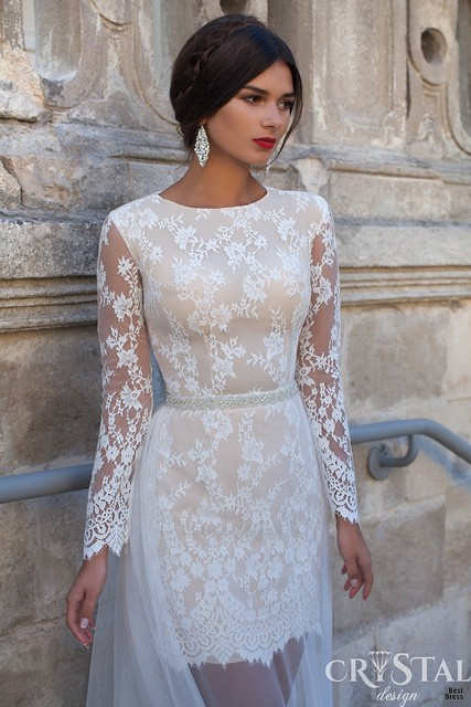 New Stunning Beach Long Sleeve Scoop Neckline Ivory Lace Simple Short Wedding Dress 2017 Y Tulle