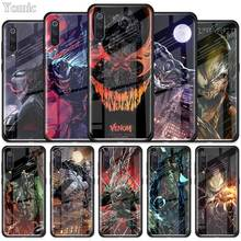 Marvel Venom Super Hero Tempered Glass Case for Xiaomi Redmi Note 7 6 Pro K20 Mi 9 Cell Mobile Phone Cases Cover