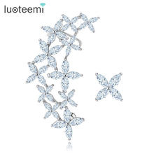 LUOTEEMI Brand New Arrival Luxury Vintage Flower Cubic Zirconia Ear Cuff Stud Earrings White Gold Plated Accessories Wholesale
