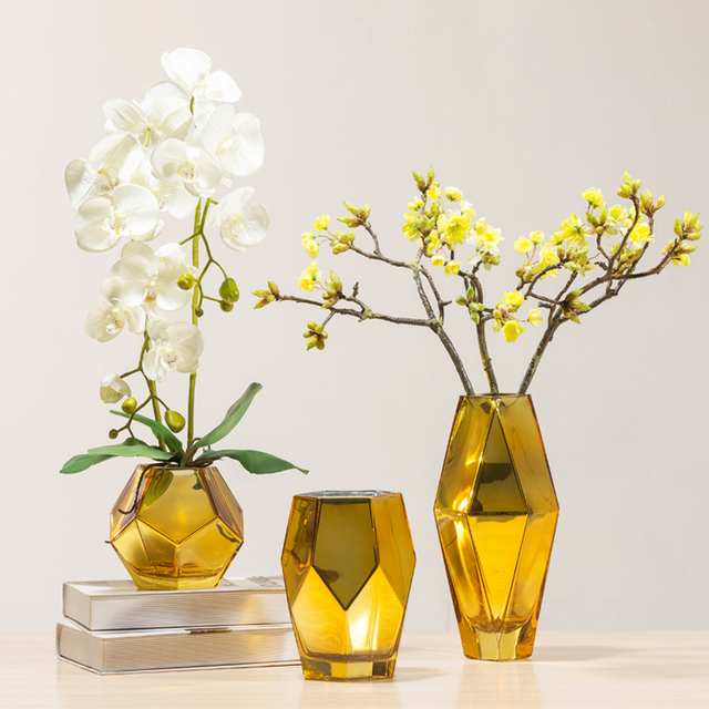 Golden Silver Fashion Creative Plating Glass Vase Geometric
