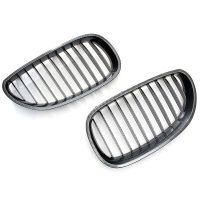 For BMW E60 4D 2003 2009 2pcs Auto Replacement Parts Racing Grills Car Front Kidney Grille Carbon Fiber Grilles D25