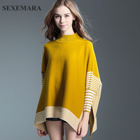 SEXEMARA Knitted Turtleneck Sweater Pullover Winter Coat Colorful Bat Sleeve Loose Cloak Ladies Cashmere Sweaters Poncho