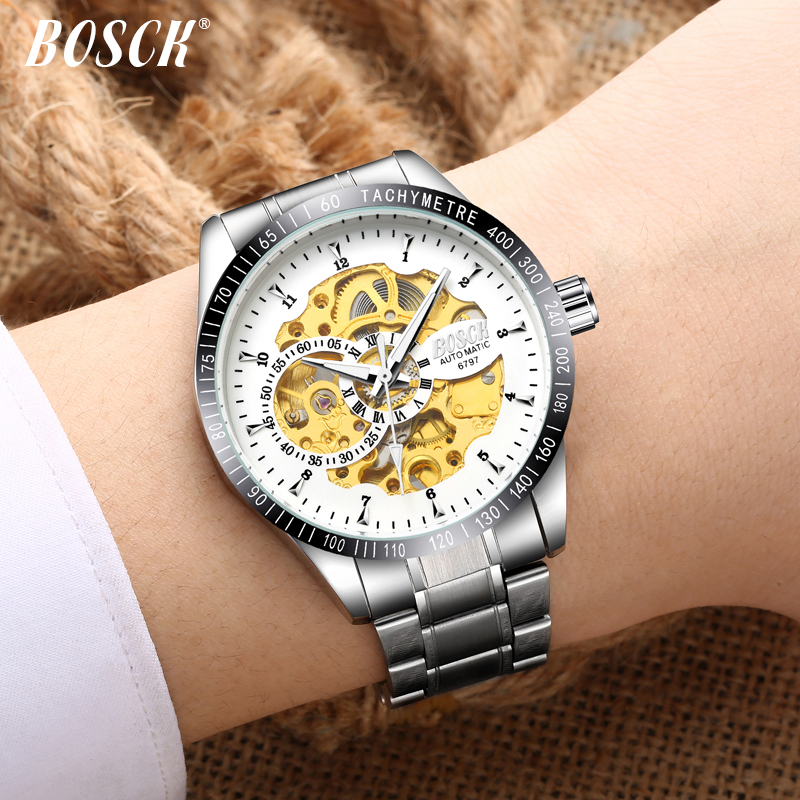 BOSCK 2018 Silver Stainless Steel Waterproof Mens Skeleton Watches Top Brand Luxury Transparent Mechanical Male Wrist Watch forsining 2017 dragon series transparent silver case mens watches top brand luxury mechanical skeleton watch male wrist watches