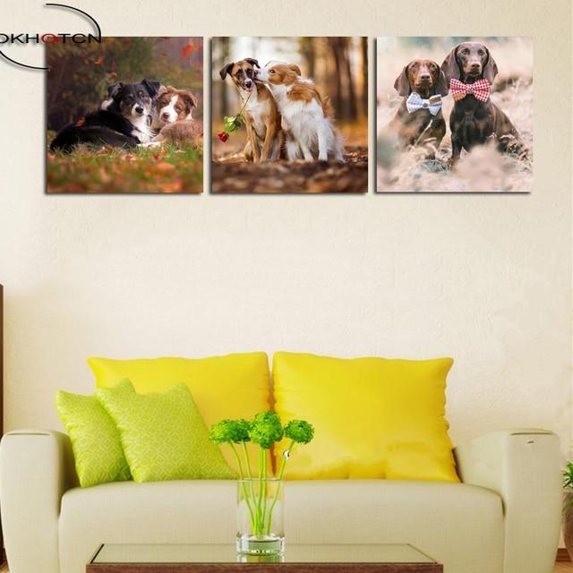 OKHOTCN Dog Couple Print Unframed Wall Art Canvas Modular Picture ...