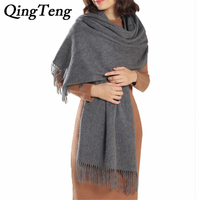 QingTeng 2017 Fashion Sexy New Tassel 100 Pure Cashmere Shawl Scarf Women Winter High Quality Brand