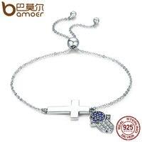BAMOER 925 Sterling Silver Hamsa Hand Cross Faith Power Lace Up Women Link Bracelet Sterling Silver