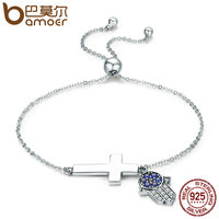 BAMOER 925 Sterling Silver Hamsa Hand Cross Faith Power Lace Up Women Link Bracelet Sterling Silver
