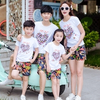 Free Shipping Summer Family Outfits Clothing Mother Daughter Father Son Sets Cotton White Short Sleeve T