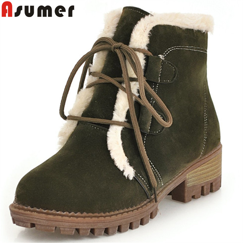 ASUMER big size 34-43 ankle boots for women round toe cross tied flock square heel med heels ladyshoes woman winter snow boots цена