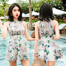 c2699a9250 M-XXXL Sexy High Neck dress style print one piece swimsuit 2018 new Large  size