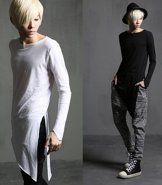 Black White Irregular Extended T shirts Men s Fashion Asymmetrical Long  Sleeve Costume Top Tees Casual Masculina Camiseta Hombre-in T-Shirts from  Men s ... 794145172