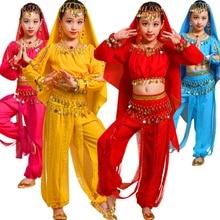 757ae085a 8PCS Girls Belly Dance Costume Chiffon Indian Arabian Princess Halloween  Performance Outfits Halter Top Harem Pants
