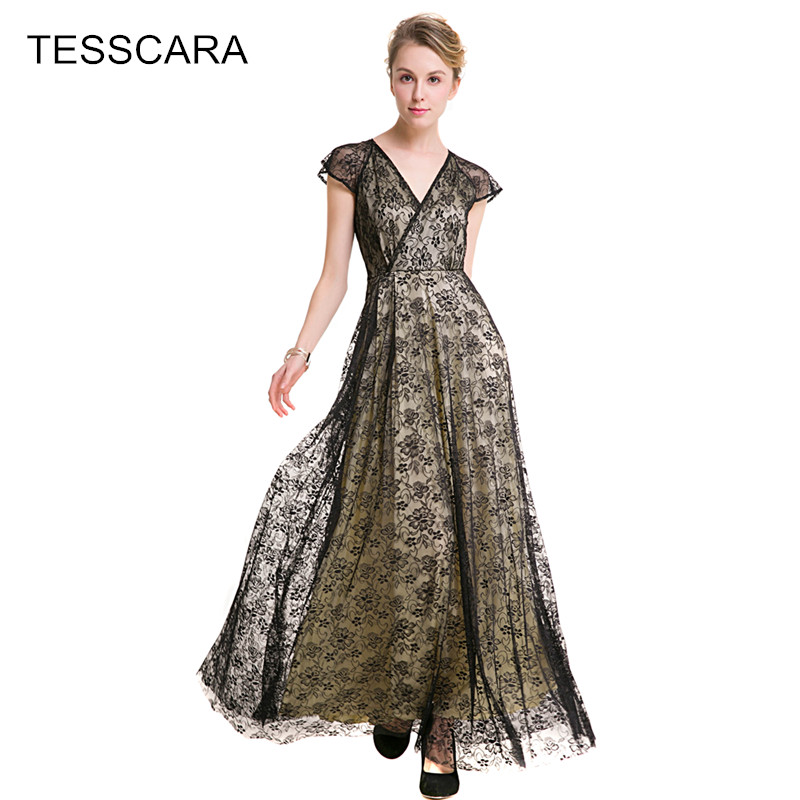 100% authentic 170ae 7d8ba US $26.13 22% di SCONTO|Donne estate elegante lungo maxi merletto dress  femminile designer retro robe capodanno vintage vestidos abbigliamento  casual ...