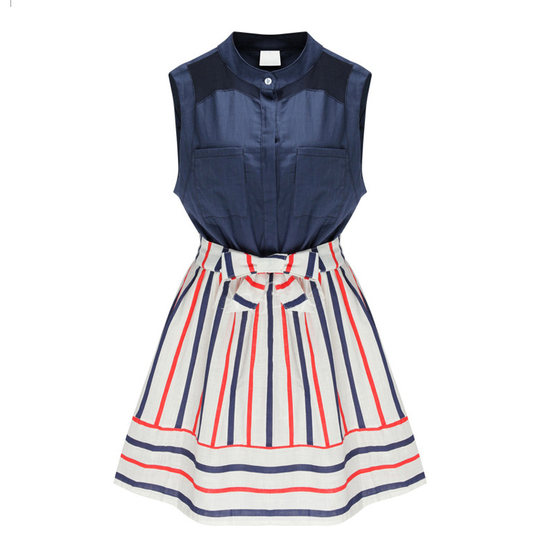 Buy Cheap Womens Summer Style Fashion Stand Collar Stripes Spell Color Slim Sleeveless Dress Plus Size PA3251