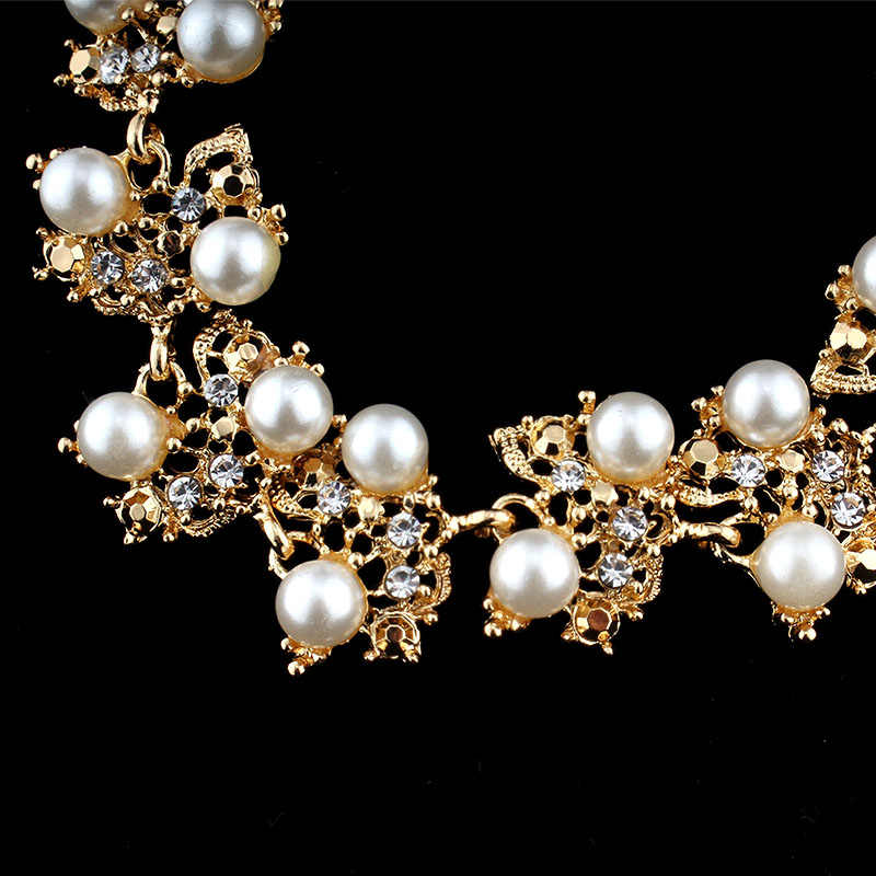 jiayijiaduo  wedding gold-color jewelry set for women imitation pearl necklace earrings for women bridal clothing accessories