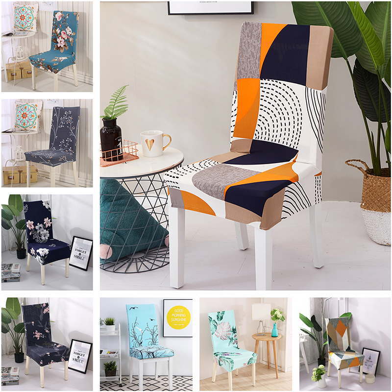 Modern Geometric Elastic Dining Chair Covers Spandex Anti-dirty Kitchen Seat Case Stretch Dining Chair Slipcovers Wedding 1 Pcs