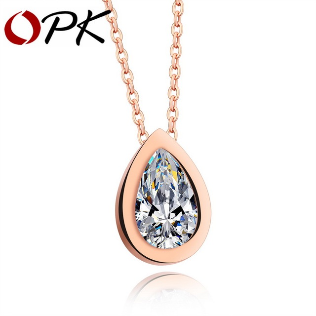 OPK Classic Water Drop Pedant Necklace For Women Cubic Zirconia Rose