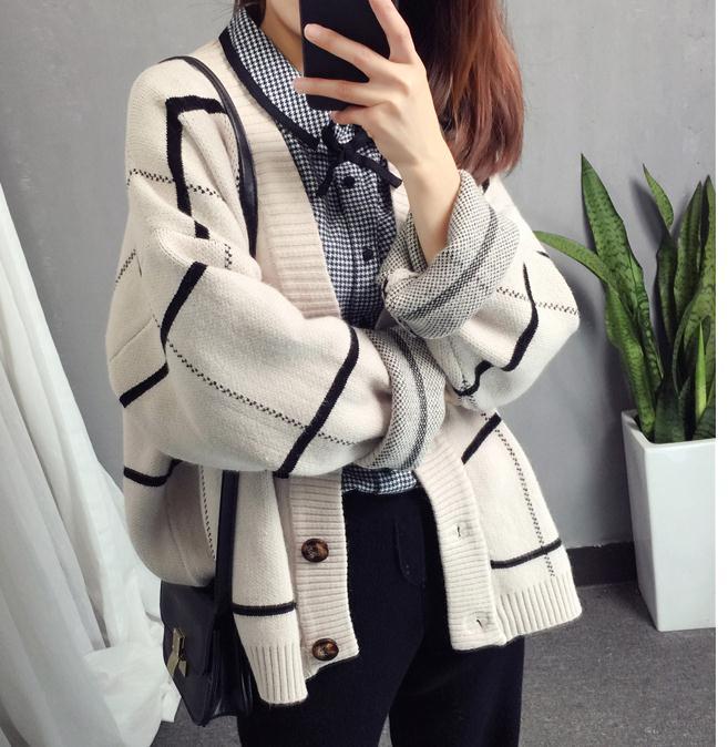 Vérifié Livraison Manteau Marée kaki Et Envoyer Épaissie Chandail 2018 Nouveau Coréenne Style Tricoté Lâche Confortable Cardigan Beige Printemps Femmes HEDW2I9