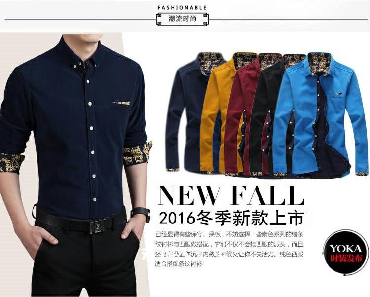 2018 New Style Men Boutique Corduroy Long Sleeve Shirts Fashion Casual Cashmere Shirt Men's Solid Slim Shirt Plus Size M-5XL