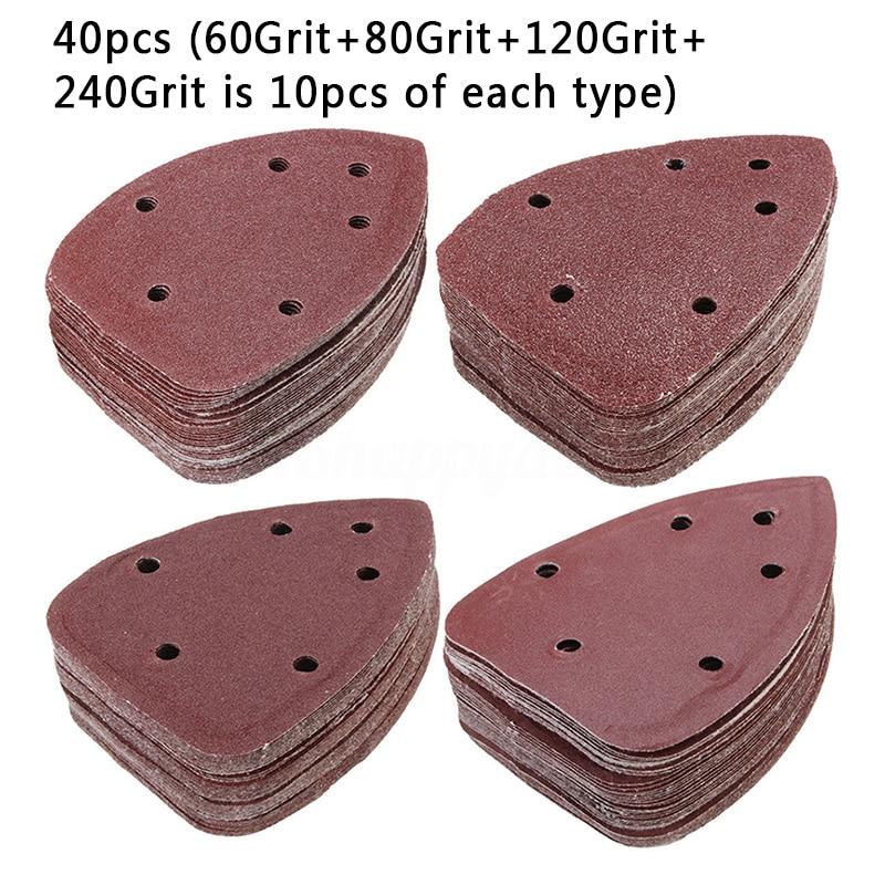 40pcs 40mm Mouse Sanding Sheets Grit Detail Palm Sander Sand Paper 60 120 240 Grit Type Home Tool Accessories