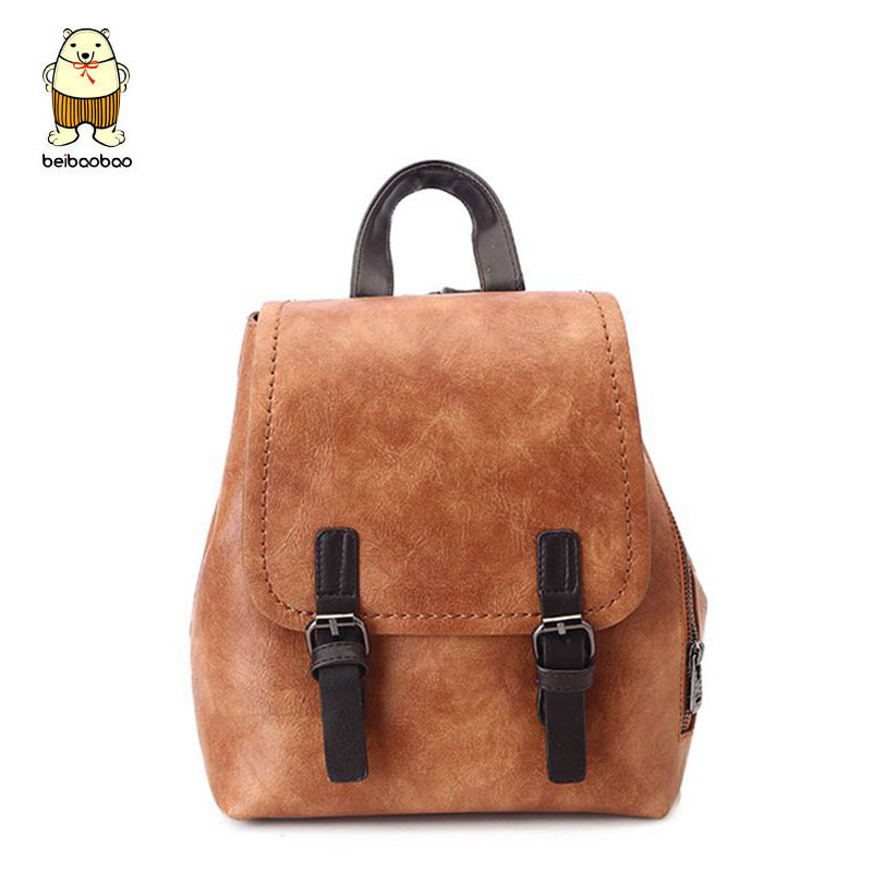 Beibaobao Backpack Women Travel Bag Leather School Book Bags for Teenagers girls Preppy Backpacks Female Shoulder bags mochila 2017 new women leather backpacks students school bags for girls teenagers travel rucksack mochila candy color small shoulder bag
