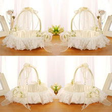 Beautiful Satin Bowknot Flower Girl Basket for Wedding Ceremony Party Ivory Gift 2019 New