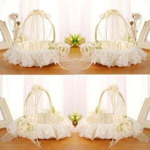 Image 1 - יפה סאטן Bowknot ילדה פרח סל לחתונה טקס מסיבת שנהב מתנה 2019 חדש