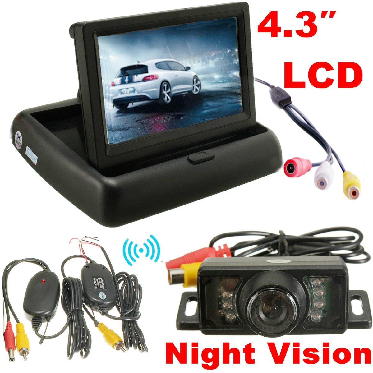 Car Foldable 4 3 Monitor Wireless IR Rearview Parking Reversing Camera Kit 120 Degree Angle Rear