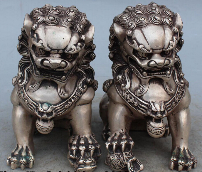 6 Chinese Feng Shui Silver Foo Fu Dog Guardion Lion Lions Ball Son Statue Pair R0707 B04036 Chinese Feng Shui Silver Foo Fu Dog Guardion Lion Lions Ball Son Statue Pair R0707 B0403