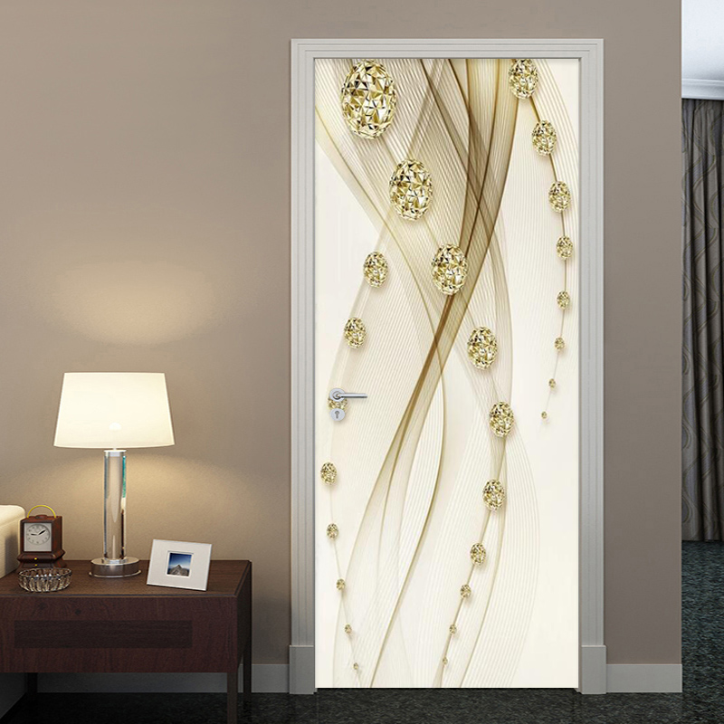 Golden Luxury Ball Line Painting Door Sticker Wallpaper 3D European Style Home Design Door Decals PVC Self-Adhesive Wall Sticker