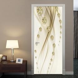 Linha de bola de luxo dourado pintura porta adesivo papel de parede 3d estilo europeu casa design decalques da porta pvc auto-adesivo