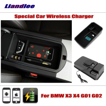 Liandlee For BMW X3 X4 G01 G02 2018 Special Car Wireless Charger Armrest Storage For iPhone Android Phone Battery Charger