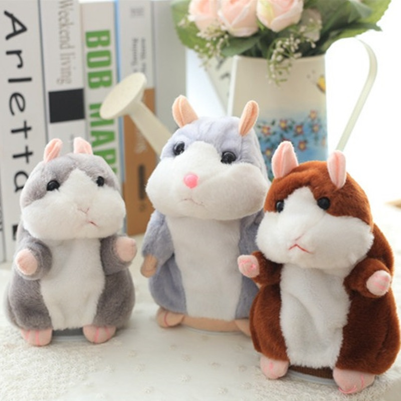 DROPSHIPPING 15Cm Little Talking Hamster Plush Toy Record Sound Hamster Educational Toy Kids Birthday Gift Interactive Pet