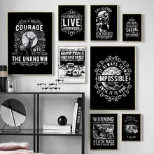 Black White Vintage Motivational Typography Nordic Posters And Prints Wall Art Canvas Painting Bar Wall Pictures For Living Room недорого