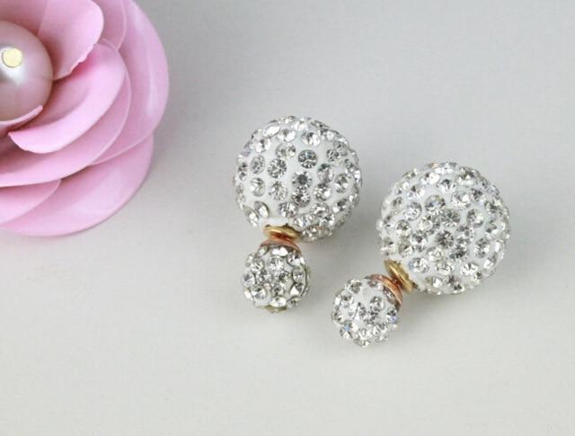 Artificial Pearl Earrings Double Sided Shamballa Brand Stud Earring For Women Jewelry Crystal Ear Faced