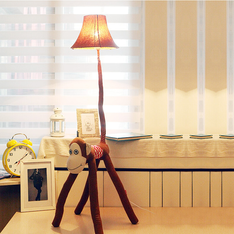 New cottage fabric monkey led e27 child floor lamp cartoon bedside new cottage fabric monkey led e27 child floor lamp cartoon bedside lamp cute monkey animal light for kid christmas present in floor lamps from lights aloadofball Images