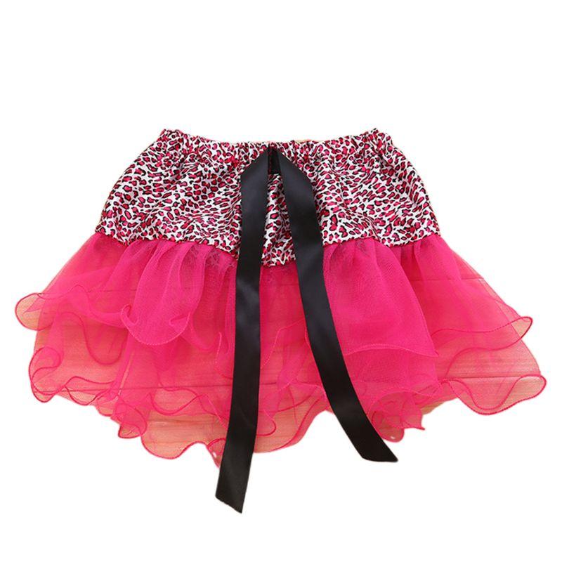 Baby Meisje Halloween Kostuum Lint Strik Leopard Mini Tutu Rok Ballet Dans Drie Layer Geplooide Ruches Mesh Pettiskirt 2- 8 T Elegant In Geur