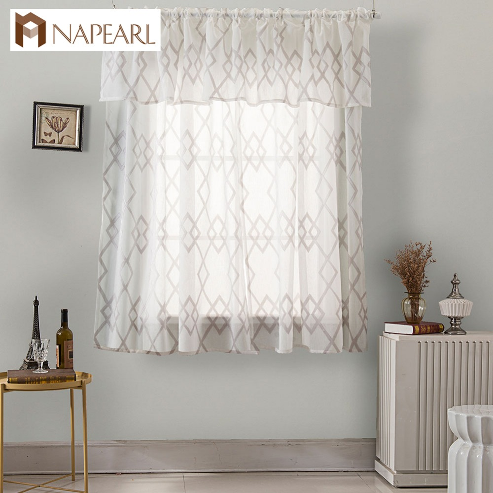 Napearl Short Kitchen Window Valance And Tiers Gauze Voile