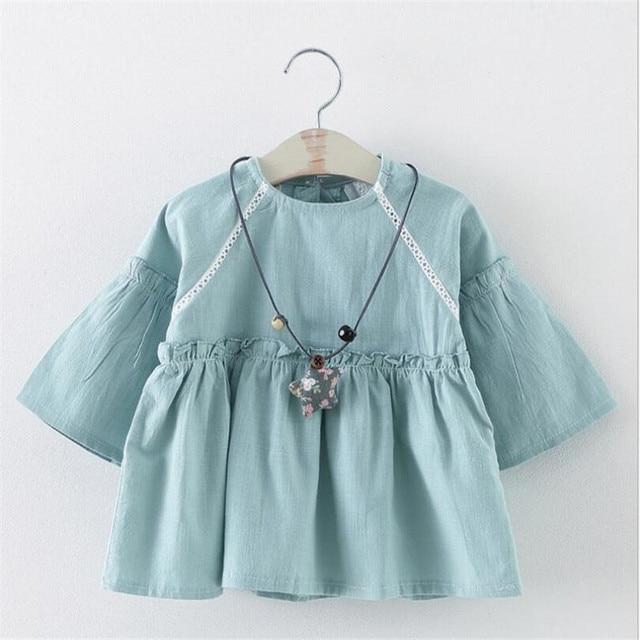 2016 весной и летом девочка твердые цвета одежды младенческой малыша платье принцессы для holidy партии одежда 2 цвета