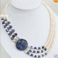 3 Rows Natural 7 8mm White Cultivation Pearl & Lapis lazuli Round Beads Necklace