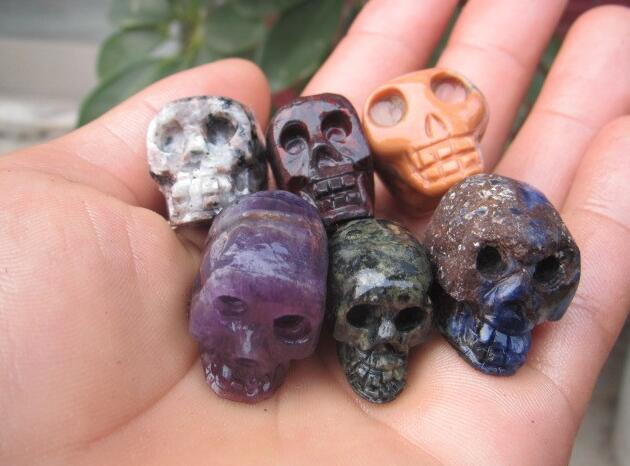 6 pcs natural colorful carved quartz crystal skull healing without polishing